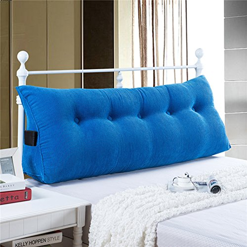 Pad Reading - YXCSELL Large Upholstered Headboard Filled Triangular Soft Wedge Cushion Backrest Positioning Support Reading Pillow Lumbar Pad for Sofa Bed with Removable Cover Royal Blue 59 Inches