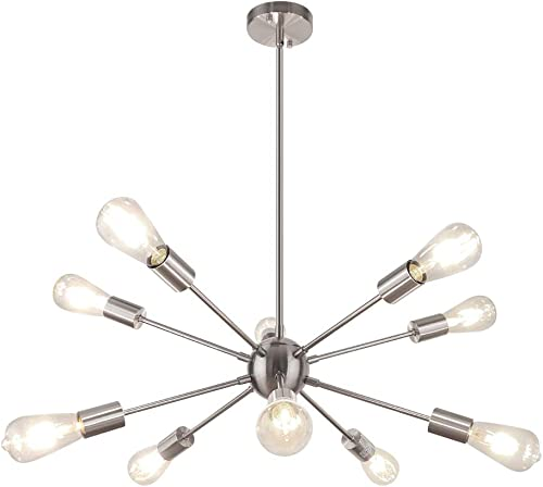 WBinDX Modern Sputnik Chandeliers 10 Lights Ceiling Light Fixture Industrial Vintage Pendant Lighting