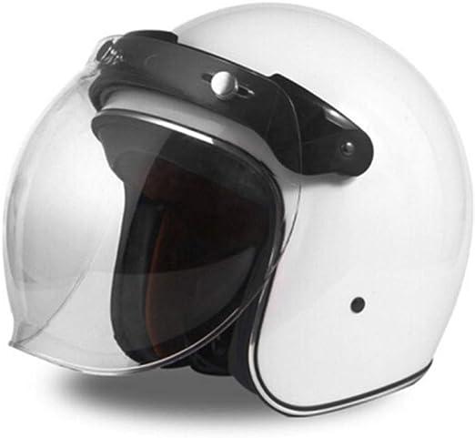 YSH Casco Harley Casco Moto Moto Vintage Casco Jet Capacetes De Motociclista Vespa Cascos para Moto Racer Cara Abierta,White-XL58-59cm: Amazon.es: Hogar