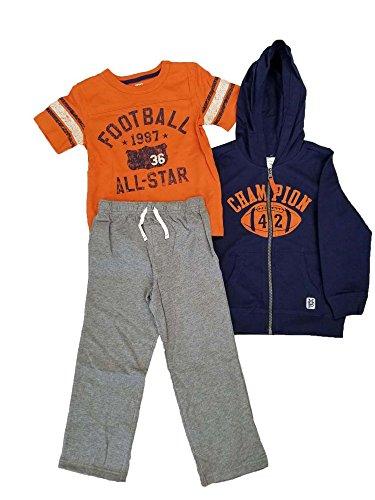 3 Piece Football Champion Hooded Sweatshirt Shirt/Pants Set (Navy, 18M) ()