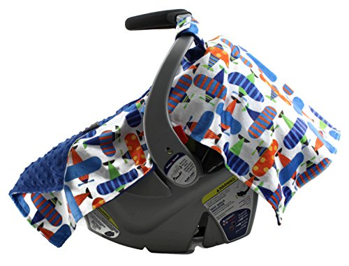Dear Baby Gear Deluxe Car Seat Canopy, Minky Print Bright Colors of Fun Airplanes, Royal Blue Minky Dot ()
