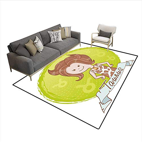 Caramel Apples Wisconsin - Carpet,Cute Cartoon Little Girl Dressed Like Cow with Spots and Horns Image,Customize Rug Pad,Light Caramel Apple Green 6'6