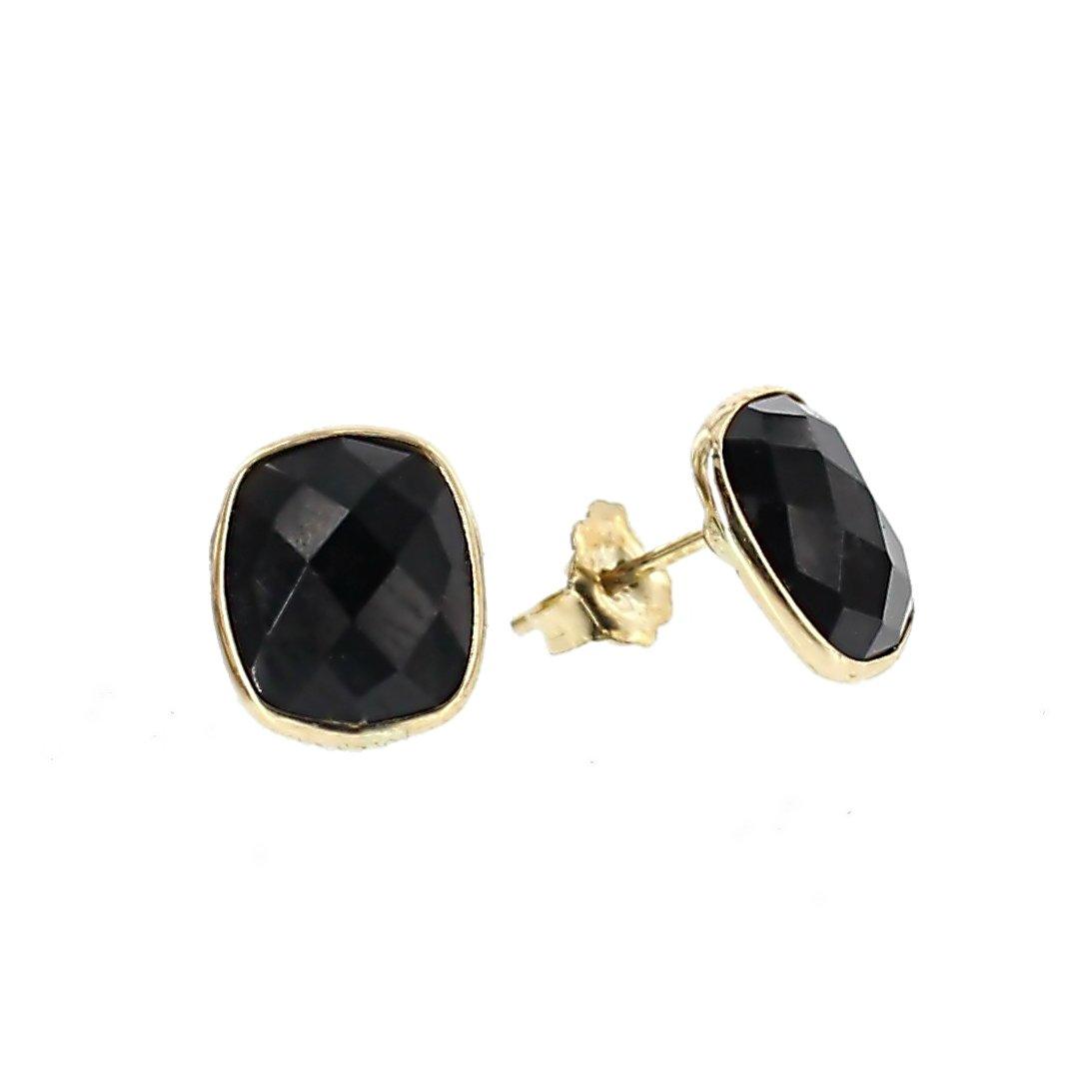 14K Yellow Gold Stud Earrings With Cushion Cut Black Onyx Gemstones