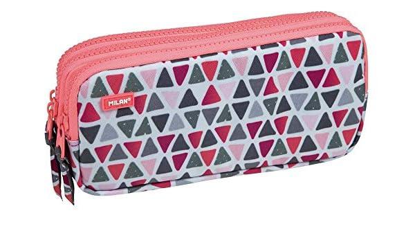 Portatodo Triple Milan Geo Pink: Amazon.es: Oficina y papelería