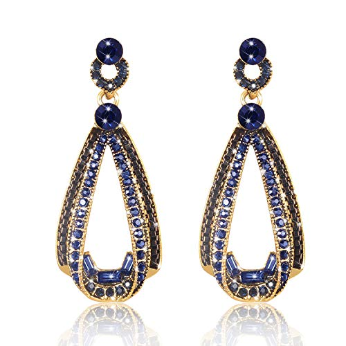 (LOVE&CLOVER Vintage Drop Dangle Earrings with Crystal for Party Women Gifts (Blue))