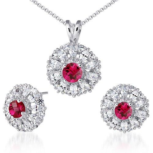 Revoni pendentif de rubis mis boucles d'oreilles en argent sterling 925 rhodié