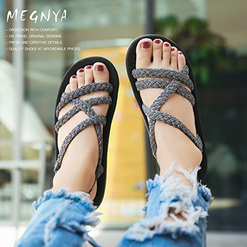 MEGNYA Women's Comfortable Walking Sandals with Arch Support Waterproof for Walking/Hiking/Travel/Wedding/Water Spot/Beach