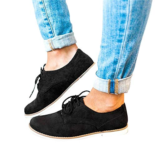 Womens Ankle Flat Suede Lace-up Sport Shoes Walking Running Casual Fashion Sneakers (Black -1, US:7.5)