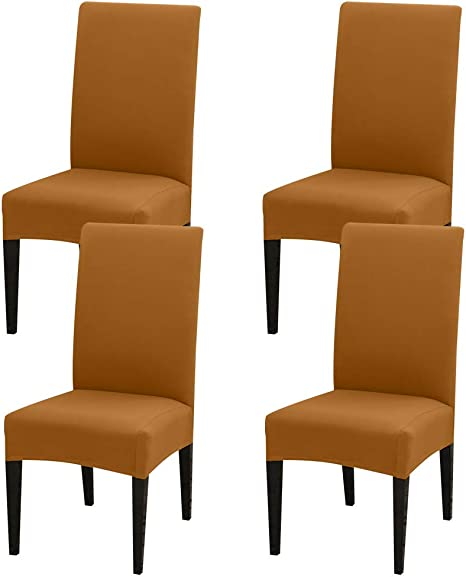 Waterproof PU Leather Dining Chair Seat Covers Stretch Slipcover Wedding Banquet