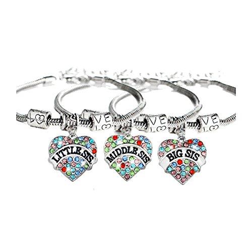 zealmer Shoopic 3 PCS Crystal Sister Bracelets Love Heart Wrist Pack