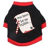 Haogo Pet Puppy Shirt Santa Letters Printed Vest T shirt Christmas Costume for Small Dog Pet Black L