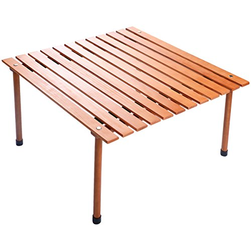 Picnic Table Portable Wood - COSTWAY Wood Roll Up Portable Table for Outdoor Camping, Picnics, Beach w/Carrying Bag