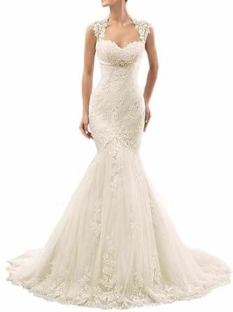 ee2471dedc88 Women's Sweetheart Lace Straps Open Back Empire Waist Mermaid Wedding Dress  at Amazon Women's Clothing store: