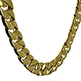 30 mm Heavy Chain Yellow Gold Finish 316L Stainless Steel 28 Inch Huge VIP Cuban Turnover Chunky 30MM Hip Hop Necklace