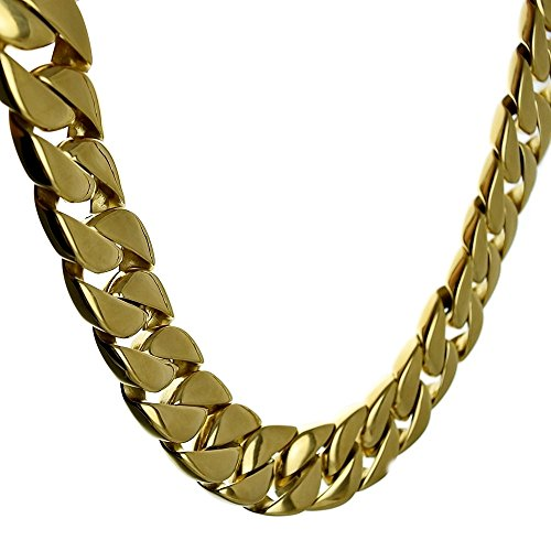 30 mm Heavy Chain Yellow Gold Finish 316L Stainless Steel 28 Inch Huge VIP Cuban Turnover Chunky 30MM Hip Hop Necklace by Bling Cartel