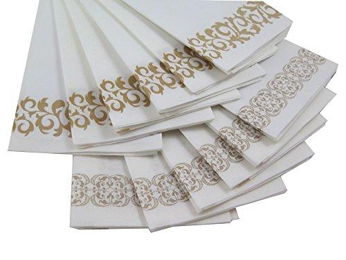 Guest Linen Decorative Hand Napkins Pack Gold Floral Lace