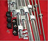 SBR16-300/600/800mm linear rail+3 RM1204 ballscrew+BK/BF10 end bearing CNC set