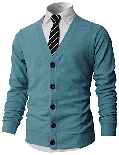 H2H Men's Stylish V-Neck Button Placket Cardigan Sweater with Ribbing Edge Sky US M/Asia L (KMOCAL0183)