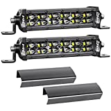 LED Light Bar, DJI 4X4 2Pcs 6 Inch 96W Off Road Driving Lights Spot Flood Combo Dual Row Work Light Super Slim Fog Lamps IP68 Waterproof for Truck Jeep UTV ATV Motorcycle Boat Marine, 2 Years Warranty