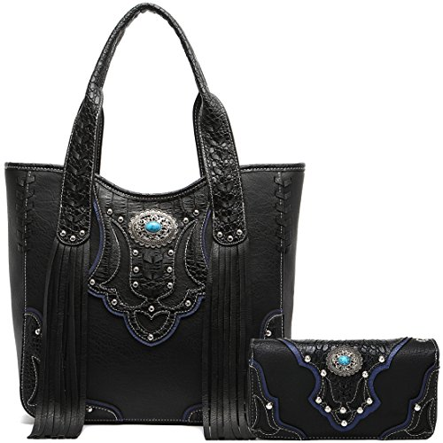 Western Style Cowgirl Fringe Concealed Purse Conchos Totes Country Women Handbag Shoulder Bags Wallet Set (1 Black -