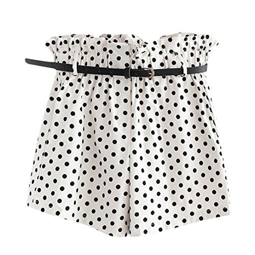 Pervobs Women Shorts, Big Promotion! Women Casual High Wasit Retro Dot Print Fit Elastic Waist Pocket Shorts Pants with Belt (L, White) ()