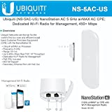 Ubiquiti NS-5AC-US NanoStation AC 5 GHz airMAX AC CPE; Dedicated Wi-Fi Radio for Management, 450+ Mbps Real TCP/IP Throughput