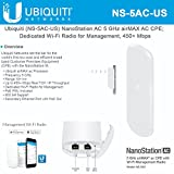 NanoStation AC NS-5AC-US 5GHz Airmax AC CPE; Dedicated Wi-Fi Radio for Management