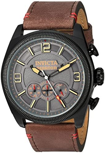 Invicta Men s Aviator Stainless Steel Quartz Watch with Leather-Calfskin Strap, Brown, 26 Model 22988