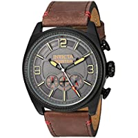 Invicta Aviator Mens Quartz Stainless Steel and Leather Casual Watch
