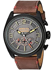 Invicta Men's 'Aviator' Quartz Stainless Steel and Leather Casual Watch, Color:Brown (Model: 22988)