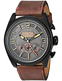 Men's 'Aviator' Quartz Stainless Steel and Leather Casual Watch, Color:Brown (Model: 22988)