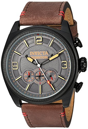 Invicta Men's Aviator Stainless Steel Quartz Watch with Leather-Calfskin Strap, Brown, 26 (Model: -
