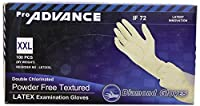 Diamond Gloves Pro Advance Double Chlorinated Powder-Free Textured Latex Examination Gloves, 100 Count