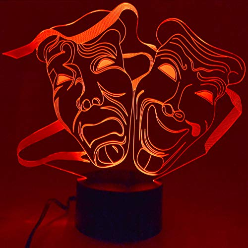 Drama Masks - 3D LED LAMP Optical Illusion Light with 7 Color Changing Lighting Effects