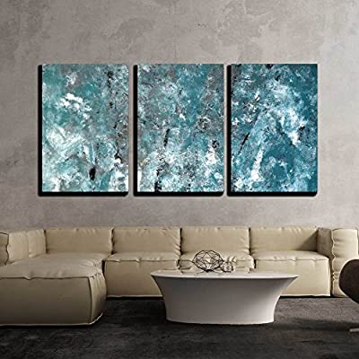 3 Piece Canvas Wall Art - Teal and Grey Abstract Art Painting - Modern Home Art Stretched and Framed Ready to Hang - 16