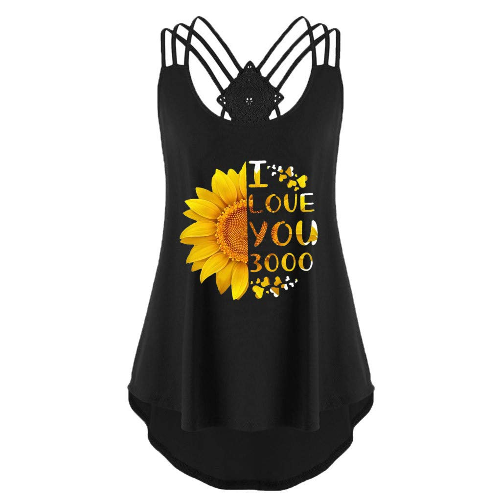 YUEZIHUAHUA Women Blouse Womens Flowy Vest Top Bandages Tank Top Sunflower Print Sleeveless Backless T-Shirts (Black - B, S)