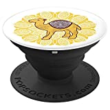 Mr Camel With Curly Retro Moustache Hat & Monocle - PopSockets Grip and Stand for Phones and Tablets