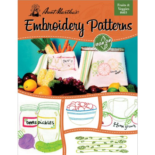 - Aunt Martha's Fruits and Veggies Embroidery Transfer Pattern Book, Over 25 Iron On Patterns