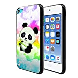 FINCIBO Case Compatible with Apple iPod Touch 5 6, Flexible TPU Black Silicone Soft Gel Skin Protector Cover Case for iPod Touch 5 (5th Generation) iPod Touch 6 (6th Generation) - Baby Panda On Cloud