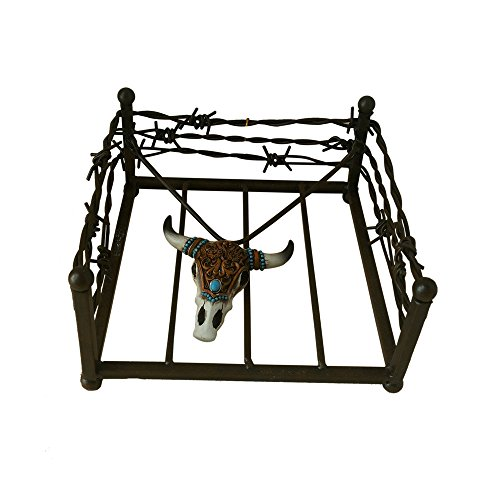 "Comfy Hour 8"" Western Bull Skull Iron Napkin Holder For Kitc"