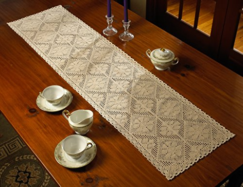 "Violet Linen Stars Crochet Vintage Design Table Runner, 14"" x 34"", Ivory - Attractive crochet stars design will add a fresh touch to any gathering Hand Made crochet Available in White and beige color options. 16Square. 1218 place mats 1434 and 1454 table runners - table-runners, kitchen-dining-room-table-linens, kitchen-dining-room - 51lswGkto9L -"
