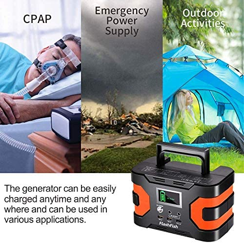 200W Peak Power Station, Flashfish CPAP Battery 166Wh 45000mAh Backup Power Pack 110V 150W Lithium Battery Pack Camping Solar Generator For CPAP Camping Home Emergency Power Supply 51lswMpF3xL