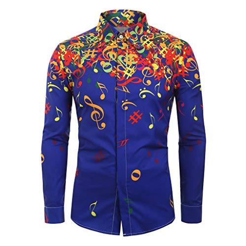 iZHH Men Shirt Musical Note Pattern Casual Long Sleeve Top Blouse Slim Tee ()