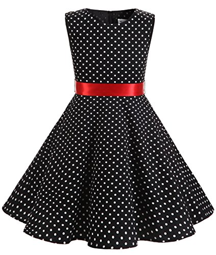 Easter Church Dress - MUADRESS Girls Sleeveless O-Neck Audrey 1950s Vintage Swing Princess Easter Party Dress BlackSmallWhiteDot XL
