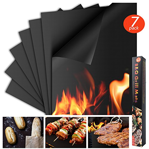 Houseasy BBQ Grill Mat - Set of 7 Non-Stick Grilling Mats Barbecue Pad, FDA-Approved, PFOA Free, Reusable and Easy to Clean, (16' x 13')