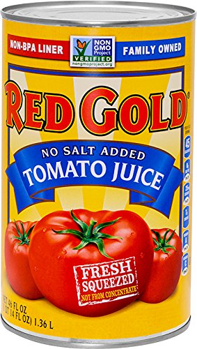 Red Gold No Salt Added Tomato Juice, 46oz Cans (Pack of 12) by Red Gold