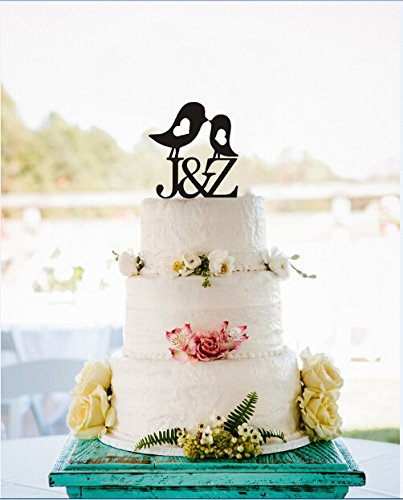Amazon Com Cute Kiss Birds Personalized Wedding Cake Toppers
