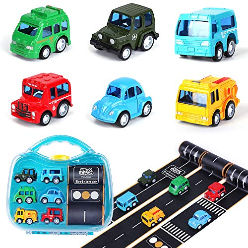 iPlay, iLearn 6 Die Cast Pull Back Cars Toy w/ 3 Road Tapes Play Set, Alloy Model Vehicles Kit, School Bus, Fire Truck, Police Car, Best Gift for 3, 4, 5 Year Olds Toddler, Preschooler, Kid, Boy, Girl
