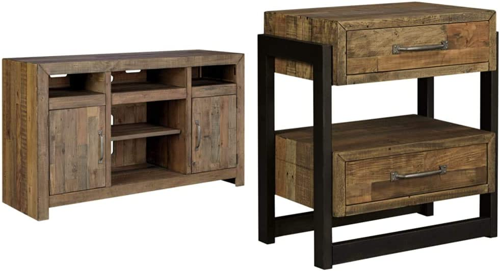 Signature Design by Ashley Sommerford Large TV Stand with Fireplace Option Brown & Ashley Furniture Signature Design - Sommerford Nightstand - Brown