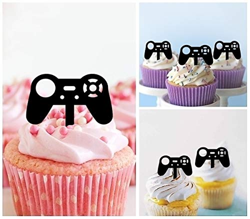 TA0849 Gamepad Video Game Controller Joystick Silhouette Party Wedding Birthday Acrylic Cupcake Toppers Decor 10 pcs by jjphonecase (Image #1)